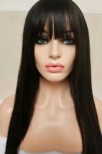 Black Human Hair Wig Long Bangs Fringe Brown Highlights