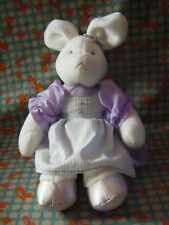 "Mary Meyer  white / cream  Bunny in purple dress soft toy 15"" approx VGC"