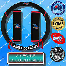 ADELAIDE CROWS CAR STEERING WHEEL COVER + SEAT BELT COVERS, OFFICIAL AFL!