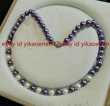 Pretty 8mm South Sea Purple/White Shell Pearl Round Gemstone Necklace 18'' AAA+