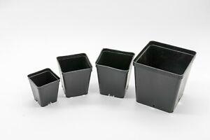 50 Stück flexible, stabile Viereck-, Pflanztöpfe, Schwarz, versch. Größen