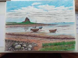 Holy island Lindisfarne Northumberland Original Artwork  By Anthony Holt