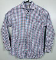 Peter Millar Long Sleeve Oxford Shirt Plaid Mens Size M White Red Blue EUC