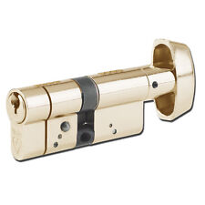 Yale Anti Snap 6 Pin Euro Cylinder Thumbturn 35/35 Polished Brass UPVC Door