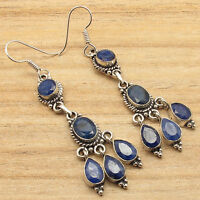 Theme Earrings, Fancy Simulated SAPPHIRE Silver Plated Over Solid Copper Jewelry