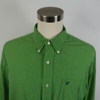 American Eagle Mens LS Button Down Lime Green Navy Blue Striped Dress Shirt XL