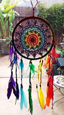 NEW HANDMADE NATIVE AMERICAN DESIGN CROCHET DREAMCATCHER WITH CHAKRA FEATHERS
