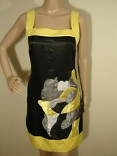 EverPRETTY Sheath Dress XS 4 Black Yellow Metallic Silver SATIN Abstract Print