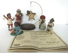 6 Pc All God'S Children Ornaments & 1 Hanger Stand 3 W/ Boxes & Coa'S