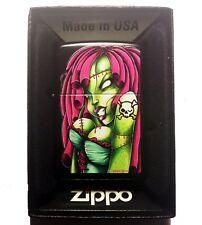Zippo Custom Lighter Sexy Zombie Hot Babe Chick with Skull Crossbones Tattoo New