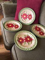 "A Set Of ""4"" Stone Lite Beautiful Poinsettia Dinner Plates 10-1/2""x10-1/2"""