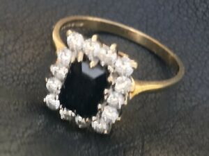 Blue And white Sapphire 9 Carat Gold Ring