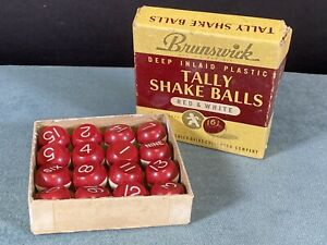 Vintage Brunswick Tally Shake Balls Deep Inlaid Plastic Red & White