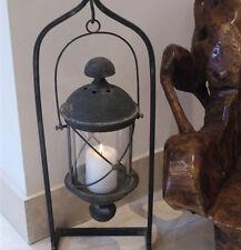 Black Hanging Lantern Hurricane Lamp Rustic Shabby Finish Antique Feel