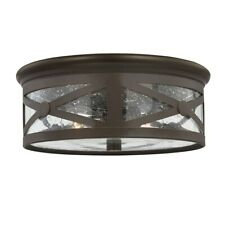 Sea Gull Lighting Lakeview Two Light Outdoor Ceiling Flush Mount, Antique Bronze