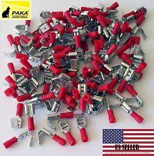 1000 pcs Red Vinyl Piggyback Spade Crimp Terminal 22-16 GAUGE