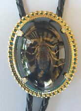 SCORPION BLACK AND GOLD RODEO ANIMAL 3-D RODEO COWBOY BOLOTIE WESTERN BOLO TIE