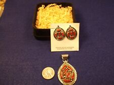 Red Coral Matching Earrings & Pendant Gorgeous N/M Cond Ladies Sterling Silver &