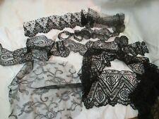 Vintage 9 pcs black Lace Trim netting Passementerie