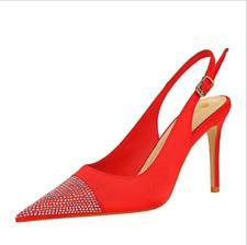 Womens Party Satin Pointed Toe Rhinestone Slingback Stilettos Heels Sandals