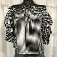 SMALL - ENTRO Gingham Plaid Ruffle Sleeve Blouse Top
