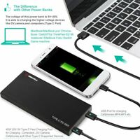 Portable PD Power Bank 20000mAh 45W USB TYPE-C QC3.0 Quick Charge Home & Travel*