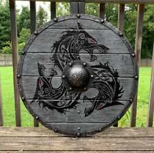 Medieval Larp Warrior Wood & Steel Viking Round shield Armor Templar Shield V30