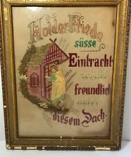 "Antique German Stitch Needlework ""Lovely Peace Stay Friendly Under This Roof�"