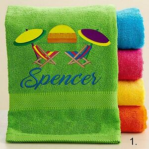 Personalized Bath/Beach Towel with FREE Custom Embroidery - Beach Theme Towel