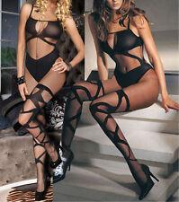 Gauze Open Crotch Mesh Black Hot Sexy Lingerie Nightwear Bodysuit UK 6-10