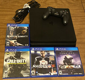 Sony PlayStation 4 PS4 SLIM Gaming Console 1 CONTROLLER 4 GAMES WIRES BUNDLE