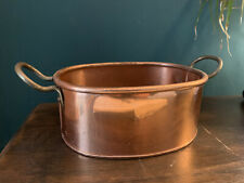More details for vintage  french copper planter jardiniere pan oval 2 brass handles