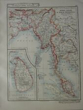 1919 Carte ~ Burma Assam & Malay Péninsule Siam Bengale Ceylan Andaman Îles