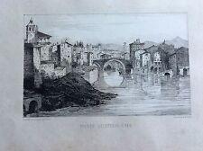 PONTE 4 CAPI Roma Souvenirs de régiment ZUAVI PONTIFICI acquaforte XIX secolo