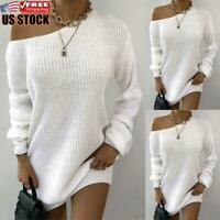 Sexy Women's Long Sleeve Knitted Sweater Pullover Baggy Jumper Top Mini Dress