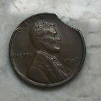 1937 Lincoln Wheat Cent Double Clip Error - Two Clips