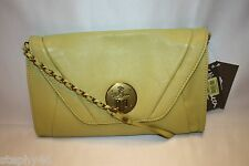 NWT! NEW! ELLIOTT LUCCA Citron Leather 3 Way Clutch Shoulder / Crossbody Bag $98