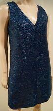 VICTORIA BECKHAM Blue Textured Sparkle Tinsel Effect Sleeveless Evening Dress 10