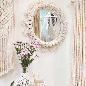New Macrame Woven Wall Hanging Tapestry Mirror Chic BohemianGeometric
