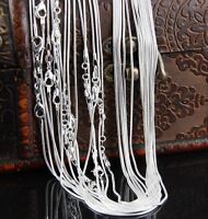 "10/20/50/100pcs 2MM Silver Plated Snake Chain Jewelry Necklace 16""~24"""