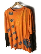 Men's Shirt by Jinzu Clothing Orange All Over Graphic Thermal Long Sleeves 3XL