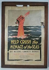 Original WWI Help Crush The Menace of The Seas Liberty Bonds Propaganda Poster