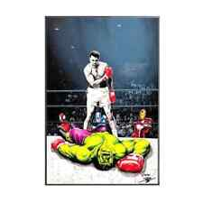 """Oeuvre Pop Art Street Art sur toile imprimée """"Mohamed Ali VS Hulk"""" 60x90"""