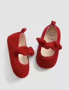 Gap Baby Girl / Toddler Velvet Bow Ballet Flats Shoes Red Size 12-18 Months NWT