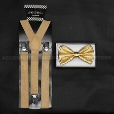 SUSPENDERS and BOW TIE COMBO SET-Tuxedo Classic Fashion Shiny Gold