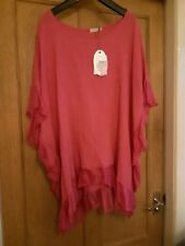 Italian Hot Pink top One Size Fit 14-18 BNWT