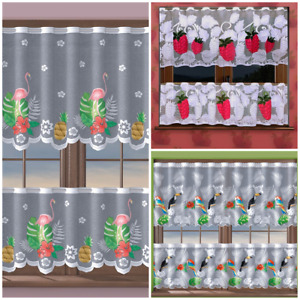 CAFE NET CURTAIN  COLOURED DESIGN BIRDS/ RASPBERRY DESIGN - SOLD BY METERS