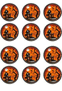 Halloween Edible Icing cupcakes toppers 12 x 2 inches Set 10