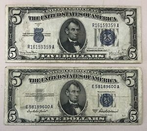 1934 & 1953 $5 Silver Certificate Blue Seal Dollar Bill ~ Lot Of 2 Notes (C137)