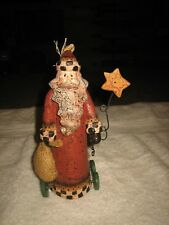 Adorable Christmas Holiday Santa Claus Figurine On Wheels Holding A Star